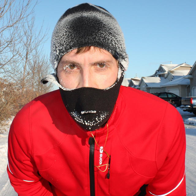 Chad runs in the cold. Is strong man. Argh.